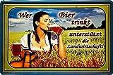 """Blechschilder Bier lustiger Trink Spruch: """"Wer Bier trinkt unterstützt die Landwirtschaft"""" Deko Schild Hängeschild für Bar Theke oder Pub Witziges Geschenk zum Geburtstag oder Weihnachten 20x30 cm"""