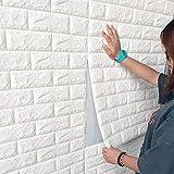 3D PE Foam Wandtapete Steinoptik Selbstklebend Soft Anti-Collision Wandpaneele Ziegelstein Steinoptik Wanddeko für Badezimmer Balkon Küchen 70x77