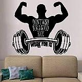 HGFDHG Gewichtheben Wandtattoo Fitness Workout Inspirierende Zitate Vinyl Fenster Aufkleber Schlafzimmer Fitnessstudio Interieur Art Deco Wallpap