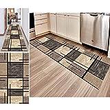 Hciszl Teppich Läufer Flur Grau Braun 60x100cm Korridor rutschfest Waschbar Küche Geometrisches 3D-Druckmuster Nach Maß Modernes Schlafzimmer Bettumrandung Teppich