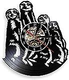 tuobaysj Wanduhr Tier Zoo Katze Familie Art Deco Wanduhr Modernes Design Vinyl Schallplatte Wanduhr 3D Wanduhr Kinderzimmer Dekoration 30X30Cm