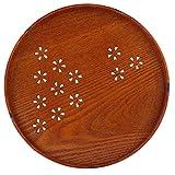 Holzteller Serviergeschirr Holz Tee Tablett für Obst Dessert Kuchen Snack Süßigkeiten Speiseteller Haushalt Küche Geschirr (27cm)