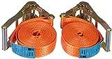 2er 2000-1-600/VE2 Set Spanngurt Braun Spanngurt 4000 daN, einteilig, für Profis, nach DIN EN 12195-2, geeignet für schwere Lasten für 2-achsige Anhänger,
