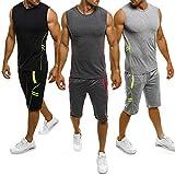 Herren Gym Outfit Set ärmellose Slim Fit Weste Tank Tops elastische Taille Taschen Shorts Training Stringers Bodybuilding Fitness Sport Kleidung Set (XXL, schwarz)
