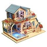Gebäude Modellgebäude Kit mit Möbel LED Music Box Mini Holzspielzeughaus Blaue und weiße Stadt Serie 3D Puzzle Herausforderung