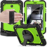 ZHIWEI Tablet PC Tasche Schutzabdeckung für Samsung Galaxy Tab E 8.0 T387 Three-Layer Stoßfest, 360 Grad Schwenkständer & Handstrap & Schultergurt PC + Silikon Schutzhülle (Color : Lime)