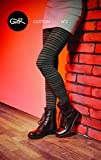 Gatta Strickstrumpfhose aus Baumwolle mit Muster (G88716-02) - hoher Baumwollanteil - gemustete Baumwollstrumpfhose gestreift - Größe 4-L -Mel. Grafit