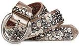 styleBREAKER Nietengürtel im Vintage Style, kürzbar 03010024, Farbe:Antik-Gold, Größe:100