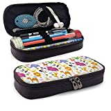 Pencil Case Big Capacity Storage Holder Desk Pen Pencil Marker Stationery Organizer Pencil Pouch with Zipper,Love Of Nature Theme Children Kids Pattern With Exotic Zoo Comic Characters