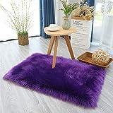 Ommda Teppiche Kunstfell für Wohnzimmer Rechteckig Teppich Fellimitat für Schlafzimmer Wollteppich Shaggy Hochflor für Kinderzimmer Lila,75x120cm