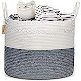 COSYLAND Baumwollseilkorb Aufbewahrungskorb Baby Wäschekorb TÜV-Zertifiziert Geflochtener Korb Decke Korb mit Griff für Wohnzimmer Boden Kinderzimmer Decken Kissen und Spielzeug