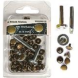 24 Stück Nieten 9 mm altmessing mit Werkzeug (Hohlnieten) im SB Blister, sl, 0122