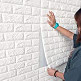 3D Wandpaneele Selbstklebend Steinoptik Tapete 77 x 70 cm Wasserfest Ziegelstein Wandtattoo PVC verdicht DIY Schaum Panel weiche Ziegel Anti-Kollision Wandaufkleber 10 Stuck