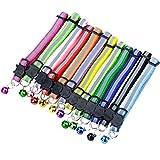 DESON 12 Stück Katzenhalsband Reflektierendes mit Sicherheitsverschluss Cat Collar mit Glöckchen Verstellbar Katzenhalsbänder für Katzen und kleine H