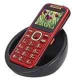 Senior Button Handy, Big Button Handy für ältere Menschen, 3G 2.0in Dual SIM Senior Handy mit Ladestation, großem Volumen, LED Taschenlampe, Geschenke für Eltern(rot)