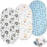 ABirdon 3er Pack Baby Spannbettlaken für Kinderwagen, Weich Hautfreundlich Baumwolle Baby Spannbetttuch, Geringe Schrumpfung Kinderbett Stubenwagen Bettlaken für Oval oder Eckig Matratze (82 x 41 cm)