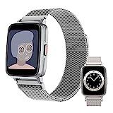 HQPCAHL Smartwatch, Fitness Uhr mit Pulsuhr Bluetooth Telefonie Temperaturmessung Pulsuhr Blutdruck Blutsauerstoff Schlaferkennung Musiksteuerung Sportuhr für iOS Android,Silber