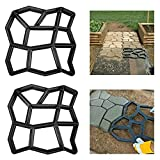 MISS YOU 2 Stück Betonform Schwarz, DIY Gipsform aus Kunststoff, Muster für Bürgersteige, Gartenraynrreguläre 9 Kammern (43x43x4cm) (Size : 2pack)