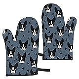 YudoHong Boston Terrier Boston Terrier Hunderasse blau grau Kinder Ofenhandschuhe hitzebeständig mit dickem Futter Topfhandschuhe für Zuhause BBQ Camping Küche Backen
