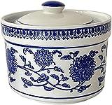 ZNMY Keramik Gewürzglas Blau und Weiß Porzellan Gewürztopf Gewürzschale Zuckerbehälter Aufbewahrungsorganisator für Küche Home Counter