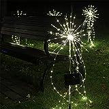 35X80CM Solar Powered Firework Lights mit Fernbedienung, LED Wasserdicht Kupferdraht Feuerwerk Light Umweltschutz Und Energieeinsparung Gartenleuchten fürGartenBalkon Terrasse Dekoration (Es ist weiß)