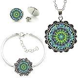 Indische Mandala Buddhist Zen Blumenbild Glas Edelstein Halskette Ohrringe Armband Schmuck Set Halskettenlänge Ca. 55 Cm + 5 Cm