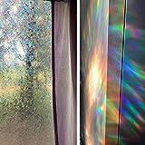Niviy Regenbogen-Fensterfolie, Sichtschutz, Fensteraufkleber, Vinyl, 3D, dekorativ, nicht klebend, abnehmbare Fensterabdeckung für Wohnzimmer, Küche, Büro, 45 x 299,7