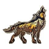 Yuemei Kreative 3D Holz Wolf Wandkunst Tierfiguren Holzfiguren, Moderne Abstrakte handgeschnitzt Holz Handwerk Wolf Figur Ornamente skulptur Tischdekoration für Wohnzimmer Dekoration