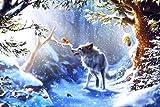 ChuYuszb Puzzle 1000 Stück Holz Erwachsenen Puzzle Wolf und Baby Eichhörnchen im Schnee Kinder Lernspielzeug Moderne Wohnkultur einzigartiges Geschenk