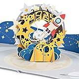 """PaperCrush® Pop-Up Karte Kinder """"Rakete im Weltall"""" - 3D Geburtstagskarte mit Weltraum Motiv für Jungen und Mädchen, Glückwunschkarte zum Geburtstag, Geschenkkarte zum Kindergeburtstag"""