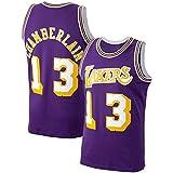 Erwachsene Herren LosAngelesLakers #13 WiltChamberlain Basketball Jersey Lila Seaso Sleeveless 2020/21 Breathable Cool Mesh Sweatshirt Weste Gr. Medium, violett