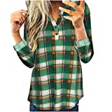 Bluse Shirt Frauen Tops Casual Langarm Plaid Slim Shirt (S,3Grün)