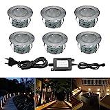 LED Bodeneinbaustrahler 6er Set Ø45mm 1W Terrassen Einbaustrahler Aussen 12V IP67 Wasserdicht Garten Terrassenstrahler Licht, Warmes Weiß