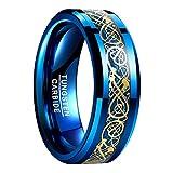 NUNCAD Ring Wolfram Herren/Damen 8mm breit, blau keltische Drachen mit Kohlefasern für Hochzeit, Verlobung, Trauung und Geburtstag, Größe 69(29)