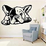 Wandaufkleber PVC Abnehmbare Wandtattoo Französisch Bulldogge Hund Wohnzimmer Home Decoration Selbstklebende Mode Tier Schlafzimmer 42x63cm