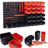 AREBOS Stapelboxen Wandregal / 46tlg Lagersystem/Rot-Schwarz / 4x Rückwand, 28x Stapelboxen, 14x Werkzeughalter/Inklusive Befestigungsmaterial/Herausnehmbar & Stapelb