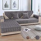 Mazu Homee Sofa Set, Segment Nähen Segment Sofa Set, Samt Sofa Set (geeignet für Katzen) Haustier Haustier Love Seat L-Form Lounge Leder Handlauf Rückendeckel 36 x 82 Zoll (Dunkelgrau)
