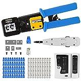 MAYLINE Netzwerkkabel-Crimp-Reparatur-Werkzeug-Set Rj45 RJ11 Cat5e Cat6 Kabel-Tester Crimper Crimpzange Abisolierzange Cutter Werkzeug-Kit, LAN-Kabel-Crimpzange Reparaturwerkzeuge (blau)