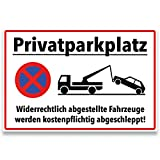 """ENDJO Warnschild Privatparkplatz aus Kunststoff - inkl. Klebestreifen - Schild """"Parkverbot"""" - 30 x 20 cm, 3 mm stark"""