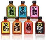Crazy B Sauce - 7er Bundle mild bis extreme scharfe Chilisauce (7 x 100ml Flasche) - Geschenkset für Griller und Chili-Fans