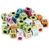 EXCEART Brief Perlen Bunte Quadratische Alphabet Spacer Perlen Würfelperlen für DIY Armbänder Halsketten Schlüsselanhänger Schmuck Herstellung Kinderspielzeug 10mm 200 Stück