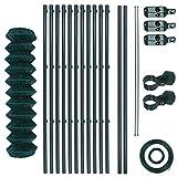 Maschendrahtzaun-Gartenzaun-Set verzinkt und grün beschichtet Maschenweite 6 x 6 cm, Zaunset, Drahtzaun, Maschendraht, Komplettset, Zaun-Set (1,5 x 25 m)