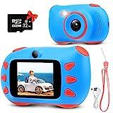 RUMIA Kinderkamera Fotoapparat Kinder Digitalkamera Mit 2 Zoll IPS-Bildschirm, 1080P HD, 32G TF Karte Geschenke Spielzeug für Jungen und Mädchen (Blau)