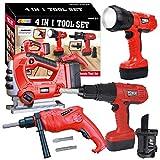 JOYIN 4-in-1 Konstruktionswerkzeug Spielzeug, Kinder Elektrowerkzeug Werkzeug Set Spielwerkzeug Rollenspielwerkzeug, Spielset mit Arbeitsfunktionen wie Taschenlampe, Sägewerkzeugen und Bohrmaschine