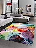 CARPETIA Teppich modern Designerteppich Blätter Laub bunt Größe 80x150