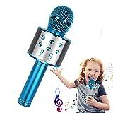 Karaoke Mikrofon, Drahtloses Bluetooth Karaoke Mikrofon Kinder, Tragbares 4-in-1 Handheld Microphone Maschine, Heim KTV Player mit Lautsprecher und Aufnahmefunktion, Kompatibel mit Android iOS und PC