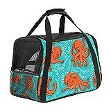 Haustier-Transporttasche für kleine und mittelgroße Katzen, Motiv: Oktopus, blau, 43,2 x 25,4 x 30,5 cm, für kleine und mittelgroße Katzen, kleine Hunde bis zu 6,8 kg