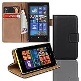 EximMobile Brieftasche Handytasche Flip Case Etui für Nokia Lumia 625 Schwarz