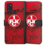 DeinDesign Klapphülle kompatibel mit Samsung Galaxy A21s Handyhülle aus Leder schwarz Flip Case Offizielles Lizenzprodukt 1. FCK 1. FC Kaiserslautern
