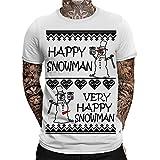 Very Happy Snowman Herren Weihnachts T-Shirt   Fun - Sprüche Shirt   Ugly Xmas Tshirt   Christmas   Lustig   Schneemann   Santa   Weihnachten  